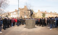 Laurie cunningham statue unveiling at leyton orient